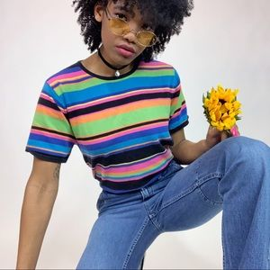 1990's Vintage Day Glow Striped T-Shirt Sweater